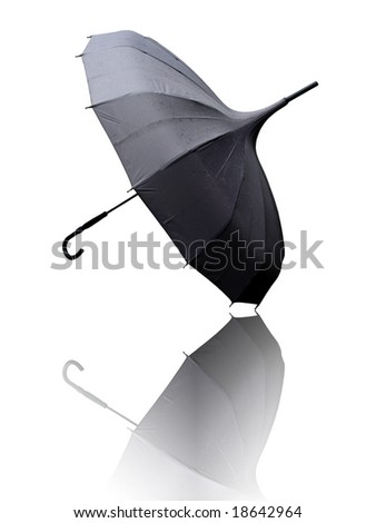 open umbrella on white with reflection