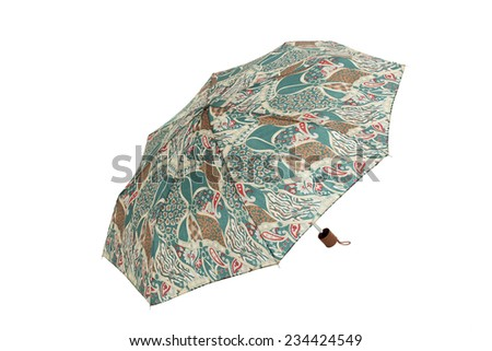 Open  umbrella with abstract elements isolated on white with clipping path - stock photo