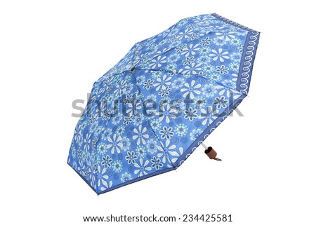 Open  umbrella with blue flowers isolated on white with clipping path - stock photo