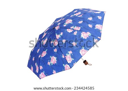 Open umbrella with rose and blue flowers isolated on white  - stock photo