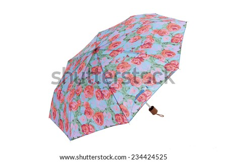 Open umbrella with roses flowers isolated on white with clipping path - stock photo