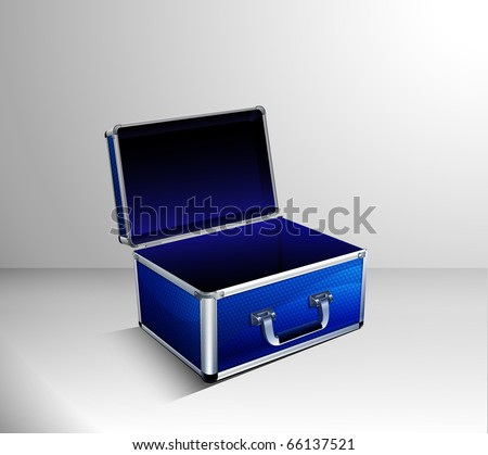 Open Vector Blue Box Case on Grey Background