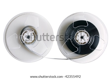 Open video cassette isolated on the white background - stock photo