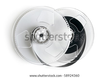 Open video cassette on a white background - stock photo