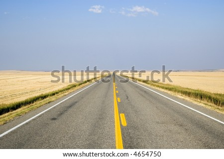 Open view of the Alberta prairies from the highway. - stock photo