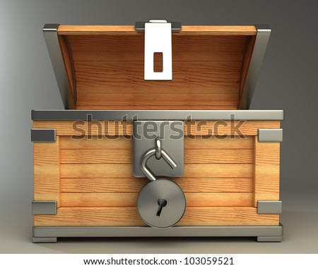 open vintage chest with lock high resolution 3d render - stock photo