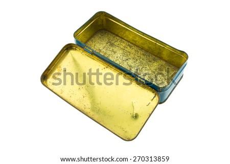 Open vintage metal box isolated on white background - stock photo