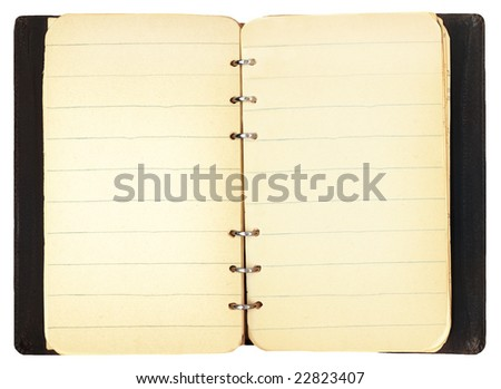 Open vintage notebook with blank lined paper for adding your own text.