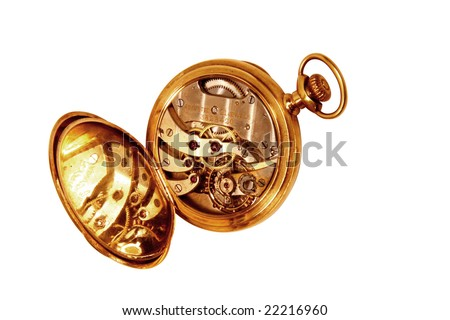 Open vintage pocket watch showing movement, movement reflected in case, isolated on white - stock photo