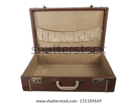 Open Vintage suit case Isolated on white - stock photo