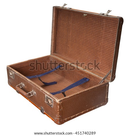 Open vintage suitcase isolated on white. Clipping path included/ - stock photo