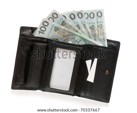 Open wallet full of one hundred polish zloty banknote isolated on white background, black leather billfold in horizontal orientation, nobody. - stock photo