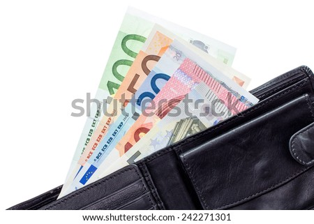 Open wallet with euro banknotes isolated on white background - stock photo
