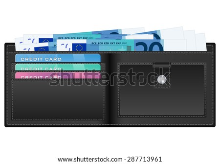 Open wallet with twenty euro banknotes and credit cards.