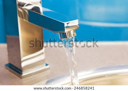 open water tap closeup - stock photo