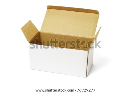 Open white and brown carton box on isolated background