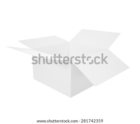 Open white blank box isolated on white background. 3d illustration High resolution - stock photo
