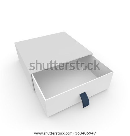 Open white blank carton with rope on an isolated background