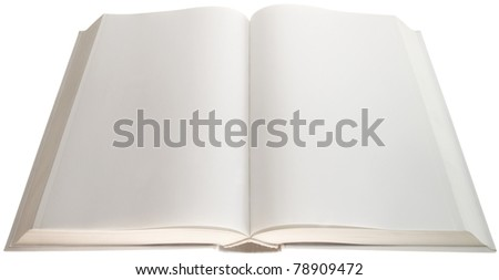 Open white book with empty pages isolated with clipping path - stock photo