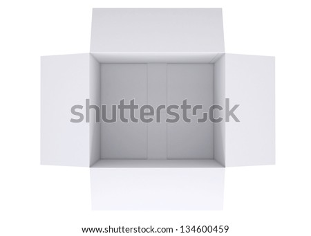 Open white cardboard box. Isolated render on a white background - stock photo