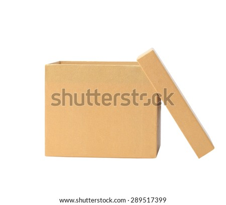 Open White Cardboard Carton Gift Box With Lid. Illustration Isolated On White Background. This has clipping path.
