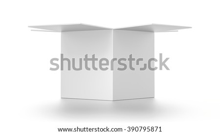 Open white cube blank box isolated on white background.