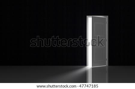 Open white door in a black empty room - stock photo