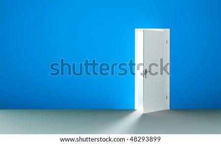 Open white door in a empty blue room - stock photo