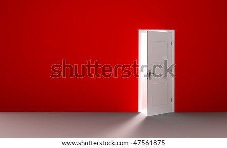 Open white door in a empty red room - stock photo