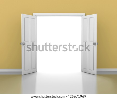 open white door in yellow wall, light coming into interior room from open door white, Doorway revealing bright light from door open white in dull yellow room  3d rendering - stock photo