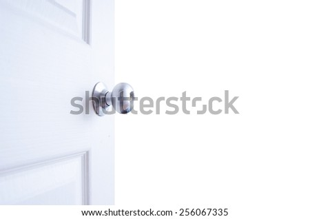 open white door isolated on white background