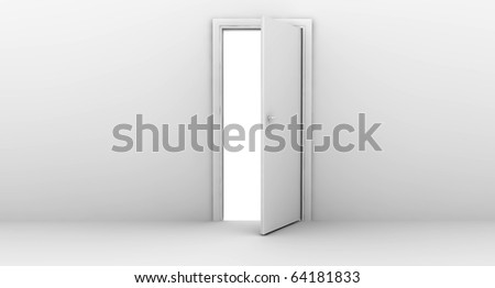 Open white door on a white wall