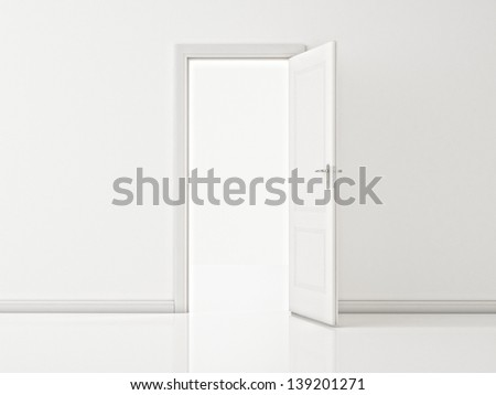 Open White Door on White Wall, Illustration - stock photo