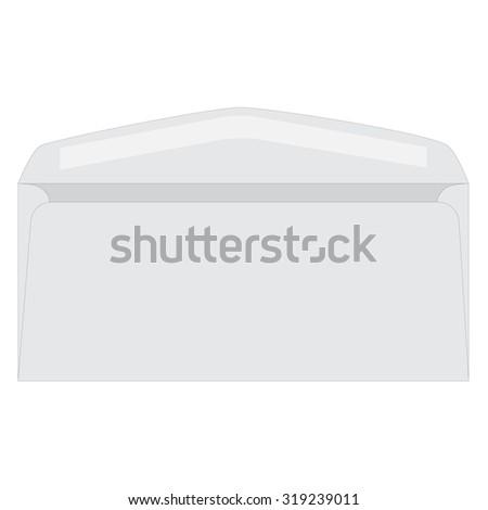 Open white envelope . Empty, blank envelope - stock photo