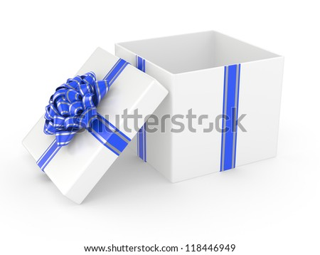 Open white Gift Box with blue glossy Ribbon Bow. 3d illustration - stock photo