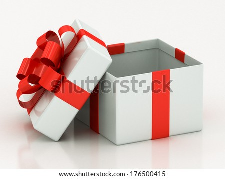 open white gift boxes with red ribbon on a white background