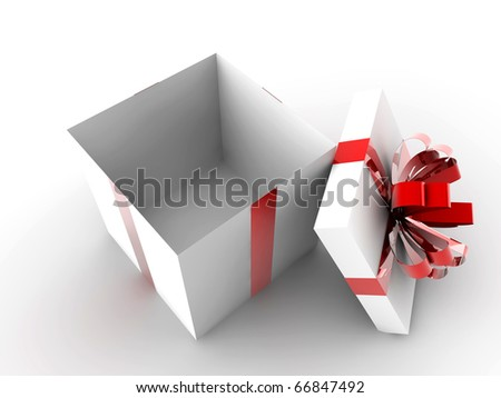 Open white gift with red ribbon and nothing inside