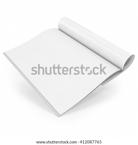 Open white journal, magazine with blank pages, isolated on white background. 3D illustration - stock photo
