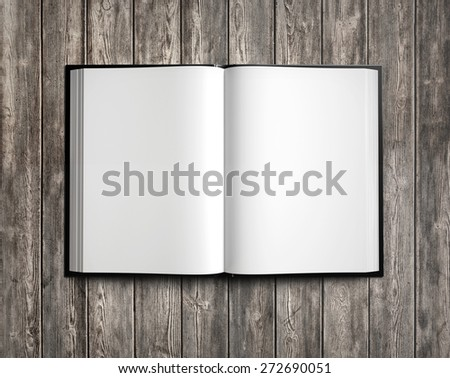 Open white textbook on natural wood. 3d render - stock photo