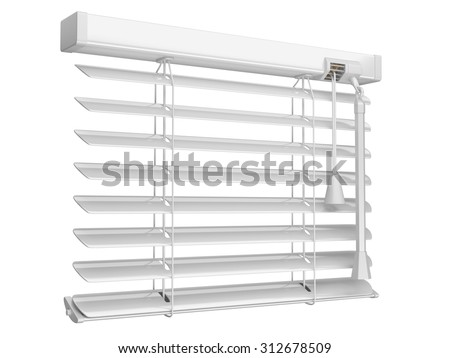 Open white window blinds. 3d illustration isolated on a white background - stock photo