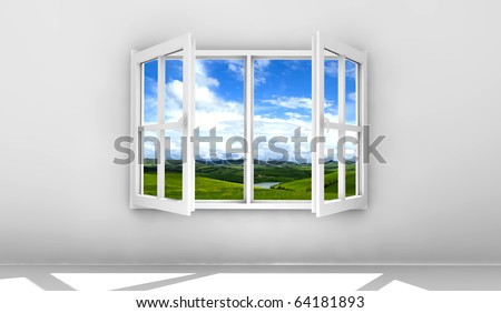 Open white window isolated on a white wall - stock photo