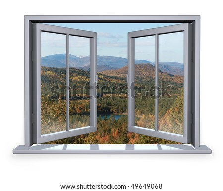 open white window with a view to the mountain
