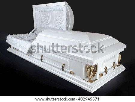 Open white wood coffin isolated on white background. Ritual objects for burial. Conduct of the deceased on his last journey. Surrender body dust of the earth. Christian funeral ritual - stock photo
