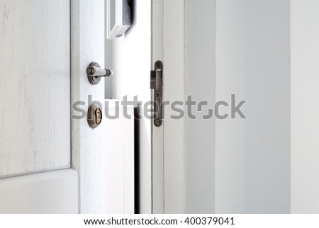 Open white wooden door. Entrance to the room