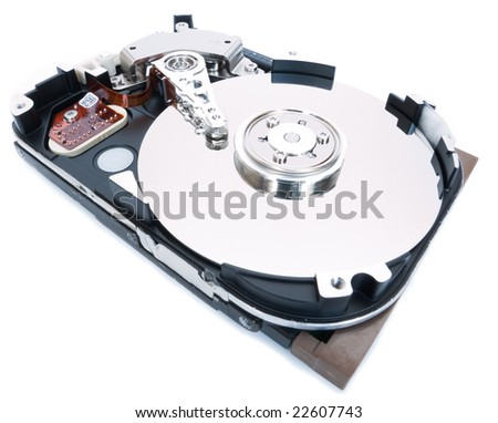 Open whole hard drive with a view of plates - stock photo