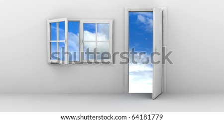 Open window and door on a blue sky - stock photo