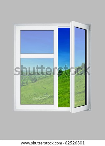 Open window at grey wall and the summer landscape