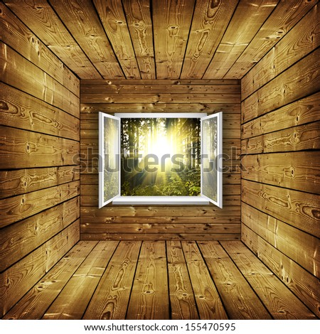 open window from wooden room with landscape on a background - stock photo