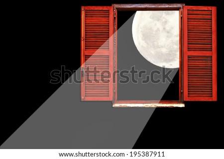 Open window full moonlight on the dark background  - stock photo