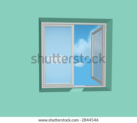 open window in green wall and blue sky and clouds - stock photo